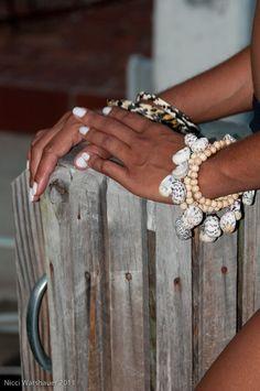 Zebra Seashell Charms Bangle Bracelet  Island Style by Rum Cay Island Jewelry #rumcay #ecojewelry