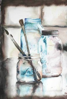 Jamie Hanson: Ball Jars – 15″ by 22″ watercolor on paper. A fun snow day project featuring three vintage jars and a few of my prettiest paintbrushes. Related