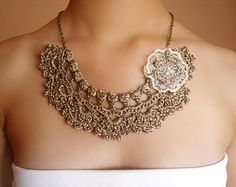 Ivory pearl lace necklace . Wedding ceremony necklace for women . Victorian wedding jewelry for romantic ceremony . Downton Abbey jewelry style . The elegant bridal necklace with pearls woven crochet . The chain is aged golden hue .  MEASURES  Length : 17,5cms Width : 4cms  Chain length: 34 cms