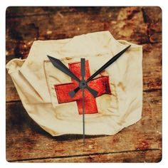 #vintage - #WW2 nurse hat. Army medical corps Square Wall Clock