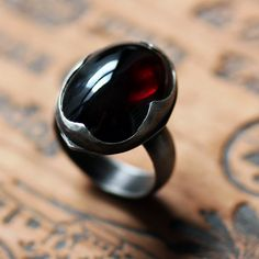 Red garnet cabochon ring - cocktail ring - tribal - big bold statement ring - recycled sterling silver - Ophelia ring, size 7  gorgeous colour