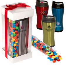 Click 'N Sip Tumbler with M® Gift Set   *Includes the Click 'N Sip Stainless Tumbler with a 7 oz. bag of plain chocolate M's®   *Tumbler is BPA free, 16 oz. insulated stainless steel shell with polypropylene inner liner and features push button for locking screw-on lid and a hand comfort shape