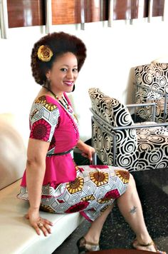 #Ankara #African Print dress with exposed zipper & peplum