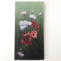 Striking antique oil painting of anemones and carnations on a dark background, circa 1900 the painting is vibrant with some stable craquelure.Oil on Canvas, with old style side studding around the stretcher. Carnations, Anemones, Dark Backgrounds, Beautiful Artwork, Candlesticks, Vintage Art, Still Life, Oil On Canvas, Handmade Items