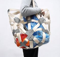 """The very resourceful designer Oscar Diaz, who once made gorgeous utensils out of plastic bottles, devised a huge shopping tote called """"Glueli"""