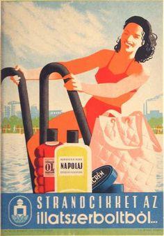 Strandcikket az illatszerboltból retro plakát