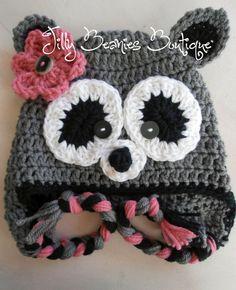 Crocheted Girl Racoon Beanie by JillyBeaniesBoutique on Etsy, $28.00