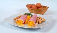 Rollitos de jamón cocido con huevo hilado