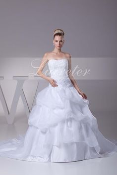 Beautiful Ball Gown Boat Floor Length Sweetheart White Organza Ruffles with Beading Wedding Dress