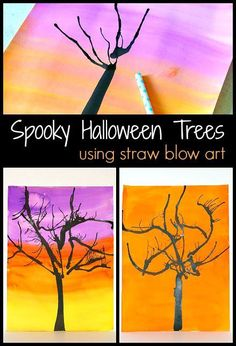 Halloween Art Project for Kids: Make spooky trees by painting with straws and air! Super cool fall activity ~ BuggyandBuddy.com