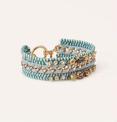 Wide Cord Wrapped Gem Bracelet | Loft