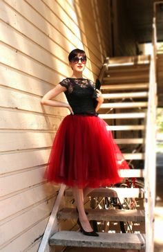 Oxblood tulle skirt - see more on http://themerrybride.org/2014/05/03/oxblood-red-wedding/