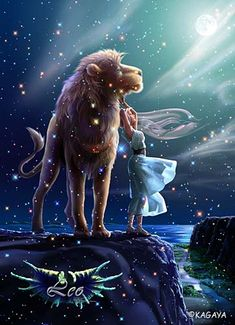 Leo   The Lion, standing in the light of the full moon, gives all his love to Serene,   the goddess of the moon.  With Legurus, the star of courage, on his chest,  How can he imagine the tragedy he is fated to ?