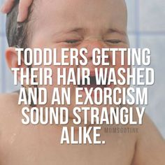 Toddlers getting their hair washed