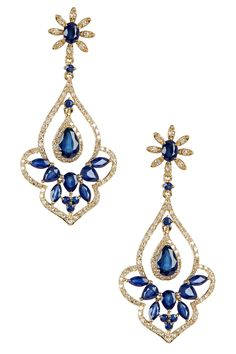 14K Yellow Gold Diamond & Natural Diffused Ceylon Sapphire Drop Earrings by Effy on @HauteLook