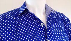 Chemise homme coupe cintrée coton bleu et pois blancs