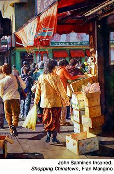 Chinese food market: artist Fran Mangino has captured some brilliant color in this watercolor. Watercolor Portraits, Watercolour Painting, Watercolours, Cityscape Art, Watercolor Landscape, Art Market, Indian Art, American Artists, Silhouette