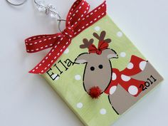 Hand Painted Canvas Rudolph the Reindeer ornament. $7.25, via Etsy.