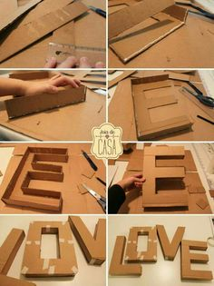 "DIY letters uploaded by gabidino on We Heart It DIY letter ""love""<br> Cardboard Letters, Diy Letters, Cardboard Crafts, Paper Crafts, Flower Letters, Diy And Crafts, Crafts For Kids, Diy Birthday, Birthday Gifts"