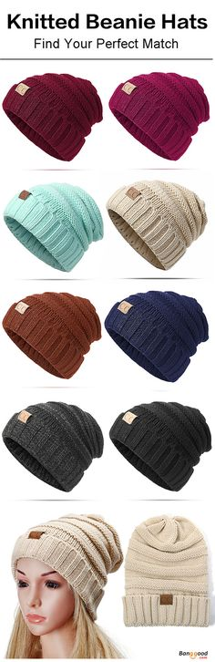 Women Men Warm Soft Knitted Hat Autumn Winter Warm Outdoor Solid Skullies Beanies Cap. One Size(Good Elastic), 12 colors,  for women and also men. Have a look!