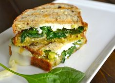 avocado, goat, spinach, pesto, + mozzarella grilled cheese