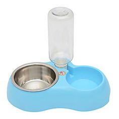 Kat+Hund+Skåler+&+Vannflasker+Kæledyr+Boller+og+fôring+Blå+Rosa+–+NOK+kr.+147