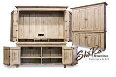 Custom large TV cabinet doors handcrafted by Shane Rodarte, custom furniture maker in Houston, Texas.