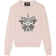 Markus Lupfer Grace sequined cotton sweater ($345) ❤ liked on Polyvore featuring tops, sweaters, pink, cotton sweater, sequin sweater, pink sequin top, sequin embellished top and pink sweater