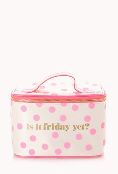 Friday's Travel Cosmetic Case | FOREVER21 What are your weekend plans? #PolkaDot #F21Cosmetics #Makeup #MustHave