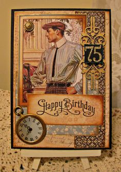 Masculine 75th Birthday Card - Scrapbook.com - Great inspiration on how to make a masculine card!