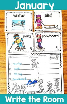 January Write the Room Kindergarten Units, Kindergarten Activities, Learning Activities, Teaching Ideas, Preschool Ideas, Teacher Created Resources, Teacher Resources, Sight Word Activities, Hands On Learning