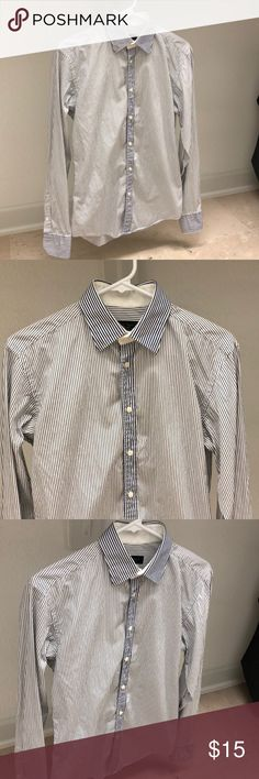 e10c8d4f5ea8b Shop Men s Zara Man White Blue size S USA mex 36 Dress Shirts at a  discounted price at Poshmark. Description  Blue stripped button down shirt.
