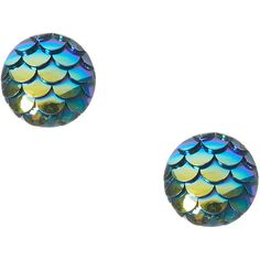 Blue Fin Mermaid Stud Earrings (21 BRL) ❤ liked on Polyvore featuring jewelry, earrings, blue stud earrings, blue earrings, blue jewelry, earring jewelry and blue color earrings