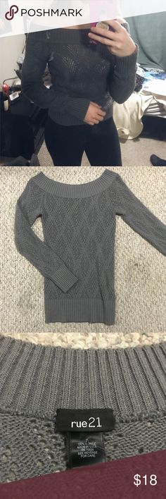 Rue 21 Grey Off the Shoulder Sweater Super cute grey sweater. In excellent condition no signs of wear! Offers welcome🌟 Rue 21 Sweaters