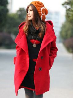 Hooded Single Breasted Wool Coat #Udobuy