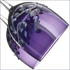 Hand Painted Purple Wine glasses, Swarovski Crystals
