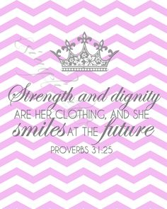 This pink chevron with grey text wall art is designed to be printed and framed in a nursery or bedroom. Featuring the bible verse from Proverbs 31:25 (NASB), this cute, simple design would not only be a great piece of art, but also a very inspirational message in the room.   *This listing is fo...