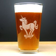 Unicorn Pint Glass - Bread and Badger Gifts #pintglass #etchedglass #glass #beer #unicorn #skaterboard