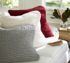 These are so soft and would be perfect on our couch -- Seedstitch Knit Pillow Cover from Pottery Barn