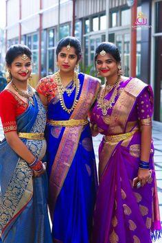 New Model Silk Sarees Pattu Saree Blouse Designs, Half Saree Designs, Bridal Silk Saree, Silk Sarees, Saree Wedding, Indian Sarees, Saris, Wedding Bride, Blouse Back Neck Designs