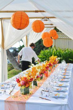 Loook at the centerpieces. modern weddings hawaii - real wedding - mia & joe - reception decor - bamboo chuppah & paper lanterns
