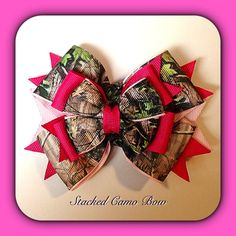 Real Tree Camo Bow- Hot Pink Pink - Baby, Toddler, Child Hair Clip on Etsy, $11.50