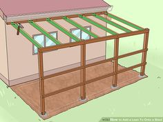 Pole Barn Garage Plans Free Beautiful 6 Ways to Add A Lean to to A Shed Wikihow Lean To Carport, Lean To Roof, Lean To Shed, Build Your Own Shed, Building A Garage, Shed Building Plans, Diy Shed Plans, Curved Pergola, Metal Pergola