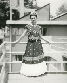 """Frida, on the Rooftop of Her Home in Altavista, in the San Ángel neighborhood of Mexico City,"" Anonymous, 1939. Throckmorton Fine Art / The Harn Museum of Art"