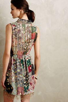 Patchworked Silk Dress - anthropologie.com