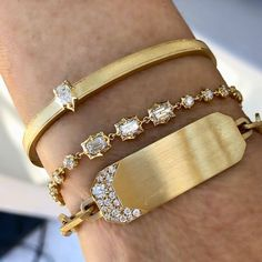 Discover fine bracelets, bangles and cuffs designed by fifth generation jewelry designer, Jade Trau crafted in highest quality diamonds and gold. Mens Gold Bracelets, Gold Bangle Bracelet, Diamond Bracelets, Love Bracelets, Jewelry Accessories, Jewelry Design, Jewelry Art, Gold Bangles Design, Bangles Making