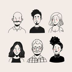 Pack of people avatars Illustration Design Graphique, Simple Illustration, Portrait Illustration, Illustration Sketches, Illustrations And Posters, Character Illustration, People Illustrations, Character Sketches, Male Character