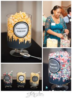 New York Themed Interactive Popcorn Bar designed by @~ Rebecca Diane ~. A Flavored Popcorn Station is a great idea of parties and weddings. Unique Favors #weddingfavors #popcorn #uniquefavors #interactivestations www.julieannephoto.com