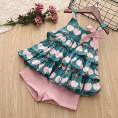 New Brand 2019 Girls Summer Clothes Set Cake Shirt And Pink Short Pants Cotton Lovely Cute Sets For Children And Kids Sundress-in Clothing Sets from Mother & Kids - Clothes and Crafts Baby Dress Design, Baby Girl Dress Patterns, Frock Design, Skirt Patterns, Coat Patterns, Blouse Patterns, Sewing Patterns, Girls Summer Outfits, Little Girl Dresses