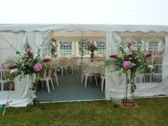 Gala Tent Marquee decorated, the flowers look great , diy weddings are a fantastic choice!